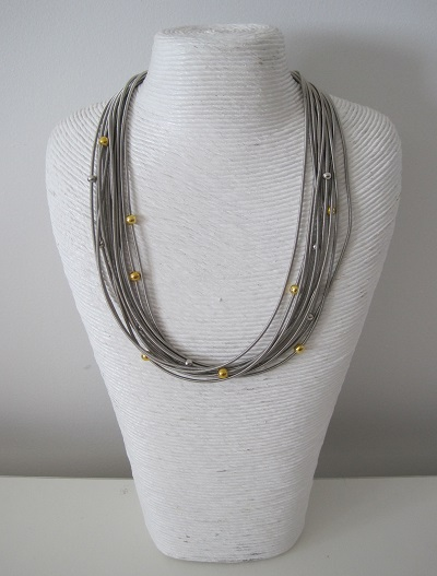 Metallic Silver Sprung Wire Necklace with Gold & Silver Beads