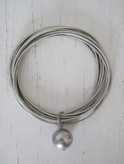 Silver Metallic Strand Bracelet/Crushed Shell Silver Ball as Charm